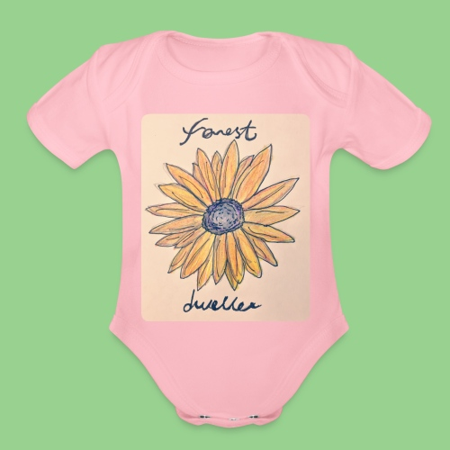 forest dweller Flower - Organic Short Sleeve Baby Bodysuit