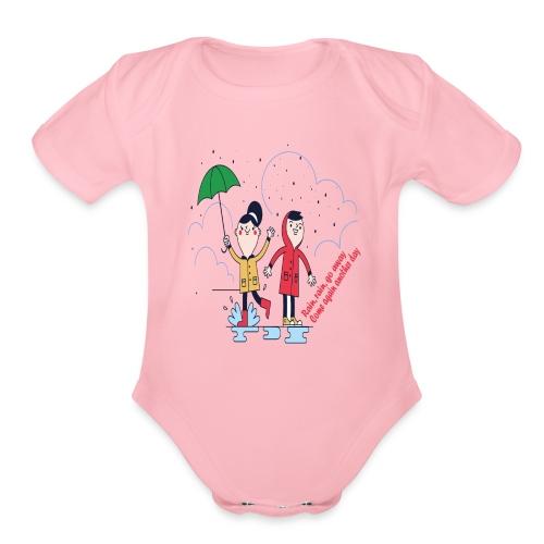 rain go away - Organic Short Sleeve Baby Bodysuit