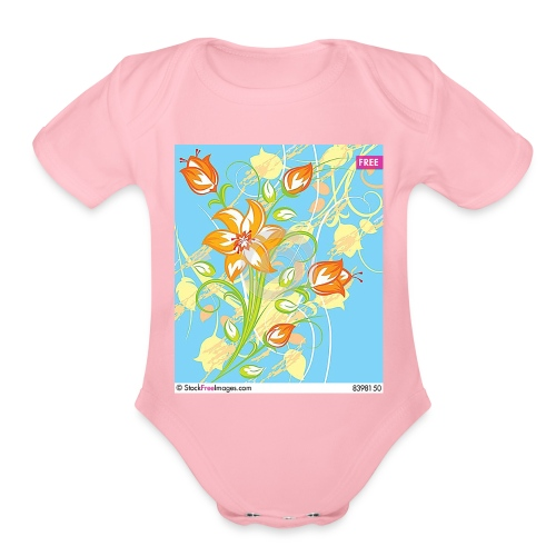 flowers67 - Organic Short Sleeve Baby Bodysuit