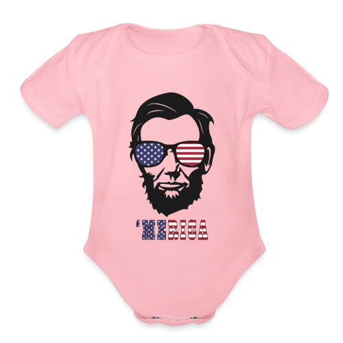 4th of july Abe lincoln t-shirts - Organic Short Sleeve Baby Bodysuit