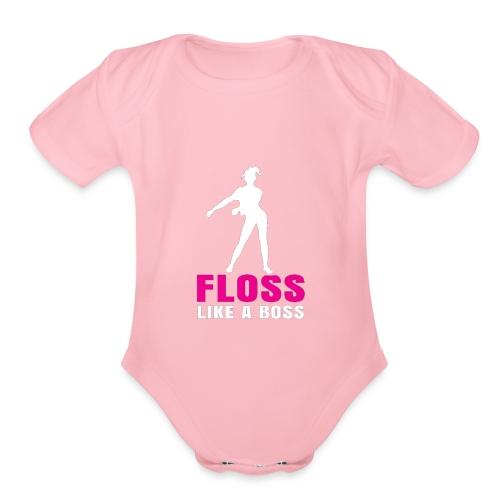 the floss like a boss shirt - water flosser - Organic Short Sleeve Baby Bodysuit