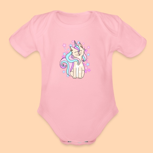cat-unicorn - Organic Short Sleeve Baby Bodysuit