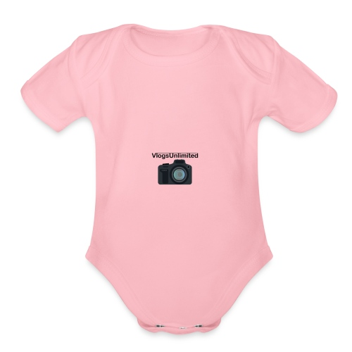 VlogsUnlimited Logo Design - Organic Short Sleeve Baby Bodysuit