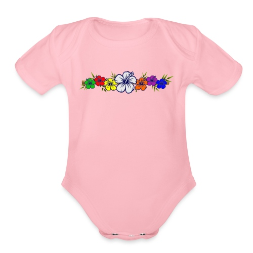 Colorful Hibiscus Flowers and Bamboo Shoot - Organic Short Sleeve Baby Bodysuit