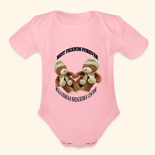 Best Friends forever design - Organic Short Sleeve Baby Bodysuit
