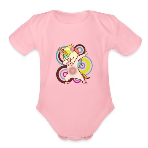 dabbing unicorn - cool unicorn - unicorn dab - Organic Short Sleeve Baby Bodysuit