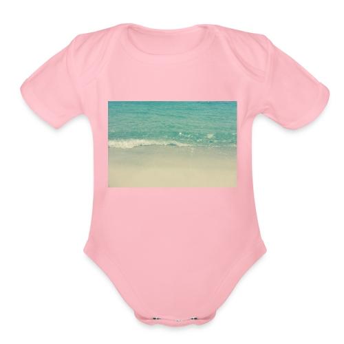 Love the beach. - Organic Short Sleeve Baby Bodysuit
