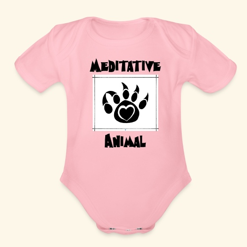 Paw Logo with Text and transparency - Organic Short Sleeve Baby Bodysuit