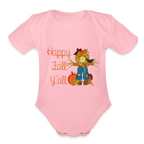 happy fall yall - Organic Short Sleeve Baby Bodysuit