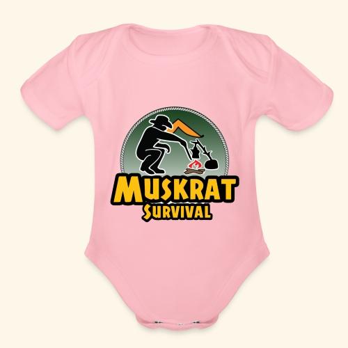 Muskrat round logo - Organic Short Sleeve Baby Bodysuit