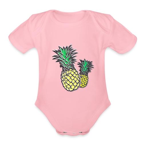 Retro Pineapple - Organic Short Sleeve Baby Bodysuit