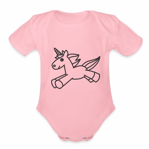 Cute Unicorn line art - Organic Short Sleeve Baby Bodysuit