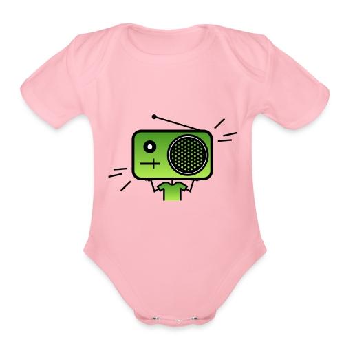 MusiqHead Green Ver 2 - Organic Short Sleeve Baby Bodysuit