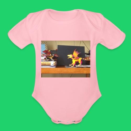 Fire dragon battle - Organic Short Sleeve Baby Bodysuit