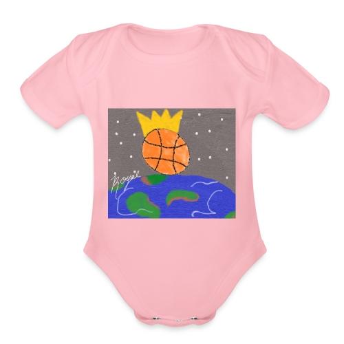 royal baller in space - Organic Short Sleeve Baby Bodysuit