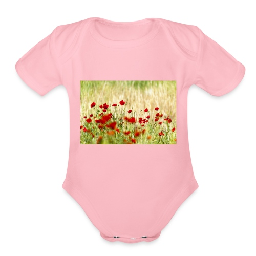 Iranian Poppies - Organic Short Sleeve Baby Bodysuit
