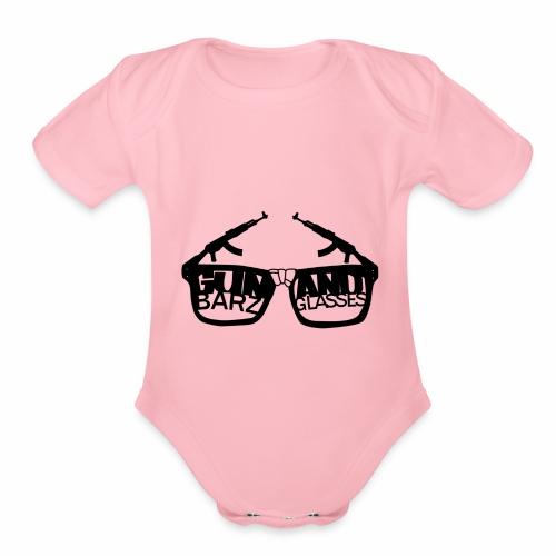 Gun Barz N Glasses - Organic Short Sleeve Baby Bodysuit