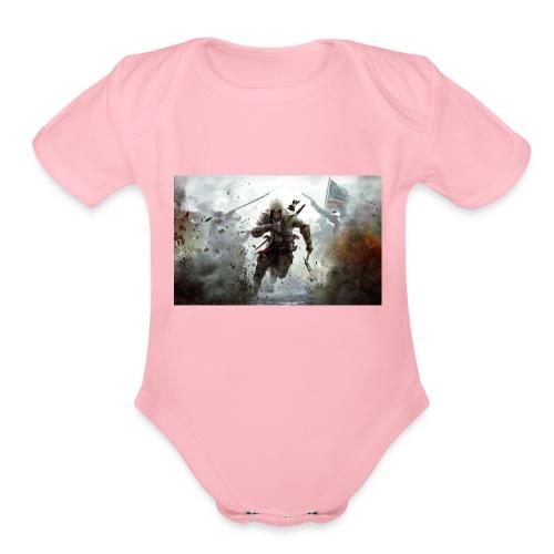 assassins creed 3 - Organic Short Sleeve Baby Bodysuit