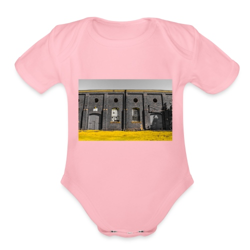 Bricks: who worked here - Organic Short Sleeve Baby Bodysuit