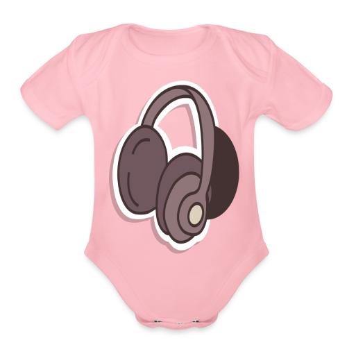 headphone - Organic Short Sleeve Baby Bodysuit