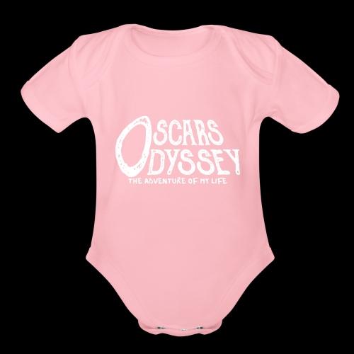 Oscars Odyssey Shirt White Logo - Organic Short Sleeve Baby Bodysuit