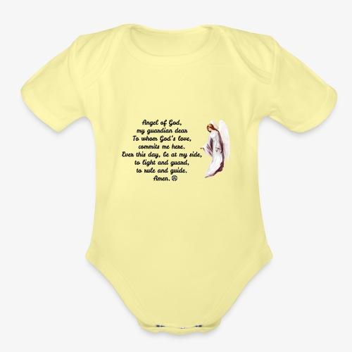 Guardian Angel prayer - Organic Short Sleeve Baby Bodysuit