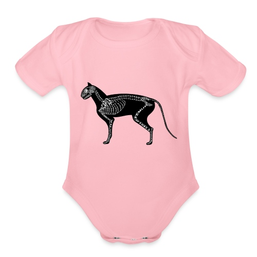 Skeleton Cat - Organic Short Sleeve Baby Bodysuit
