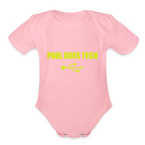 Paul Does Tech Yellow Logo With USB (MERCH) - Organic Short Sleeve Baby Bodysuit