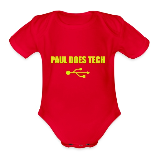 Paul Does Tech Yellow Logo With USB (MERCH) - Organic Short Sleeve Baby Bodysuit