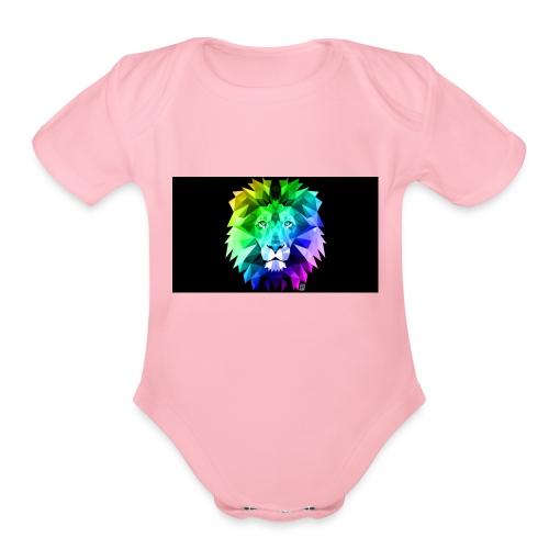 cool lion - Organic Short Sleeve Baby Bodysuit