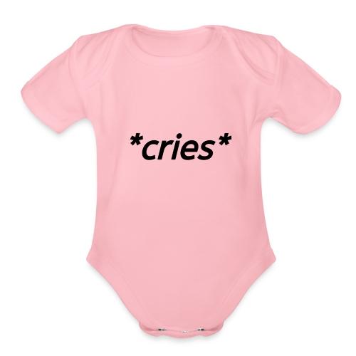 *cries* (black) - Organic Short Sleeve Baby Bodysuit