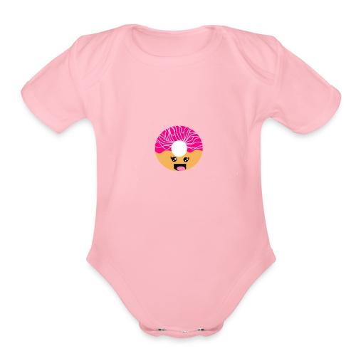 kawaii donut - Organic Short Sleeve Baby Bodysuit