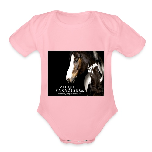 vieques island paradise horse poster - Organic Short Sleeve Baby Bodysuit