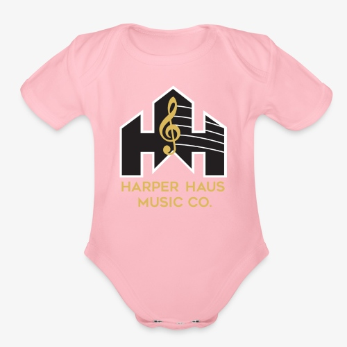 Harper Haus Music Company Full Color Logo - Organic Short Sleeve Baby Bodysuit