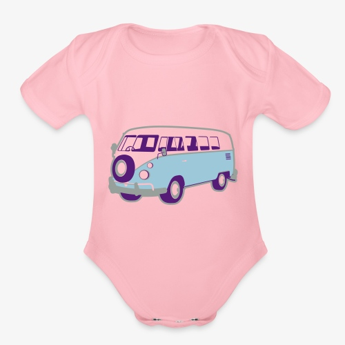 Surf surfers camper hippy surfbus - Organic Short Sleeve Baby Bodysuit
