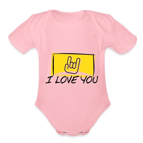 I Love You with sign language Yellow window. - Organic Short Sleeve Baby Bodysuit