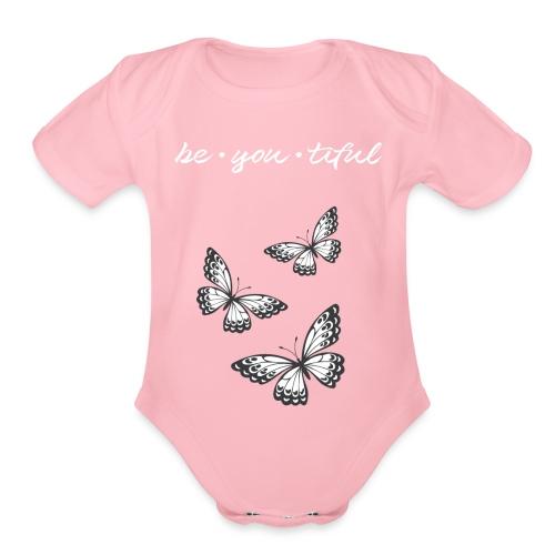 Be • You • Tiful Tank (Grey Tip Wings)-white font - Organic Short Sleeve Baby Bodysuit