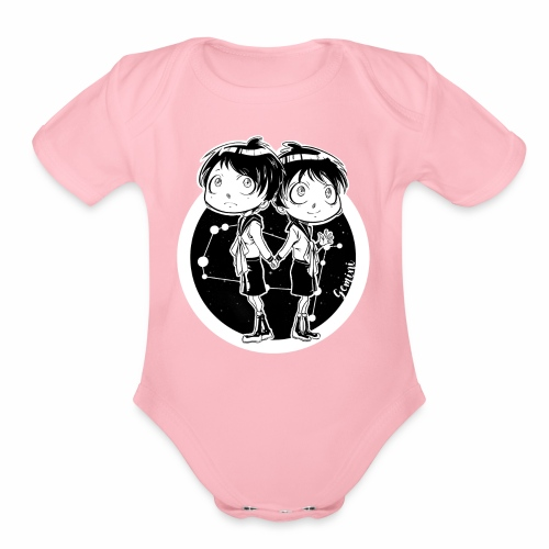 Gemini Original Zodiac Sign - Organic Short Sleeve Baby Bodysuit