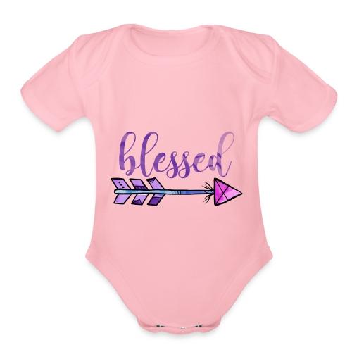 Blessed Boho Christian Design - Organic Short Sleeve Baby Bodysuit