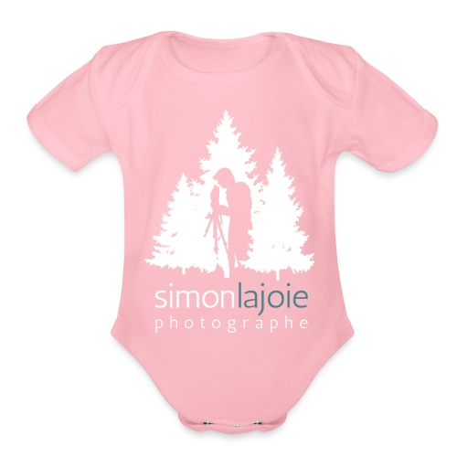 Logo Simon Lajoie Photographer White - Organic Short Sleeve Baby Bodysuit