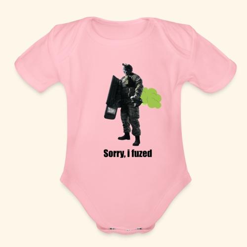 sorry i fuzed - Organic Short Sleeve Baby Bodysuit