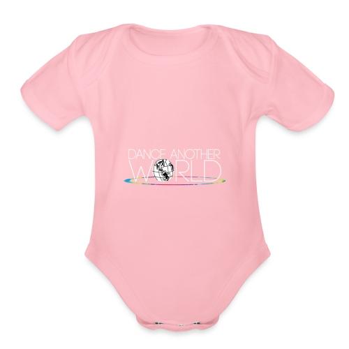 DAW Logo with White Text - Organic Short Sleeve Baby Bodysuit