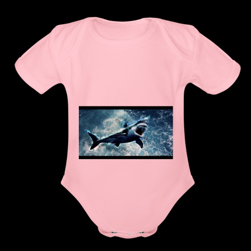 awesome sharks - Organic Short Sleeve Baby Bodysuit