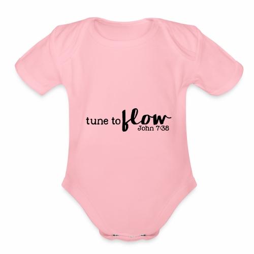 Tune to Flow - Design 3 - Organic Short Sleeve Baby Bodysuit