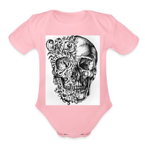 skull of madness - Organic Short Sleeve Baby Bodysuit