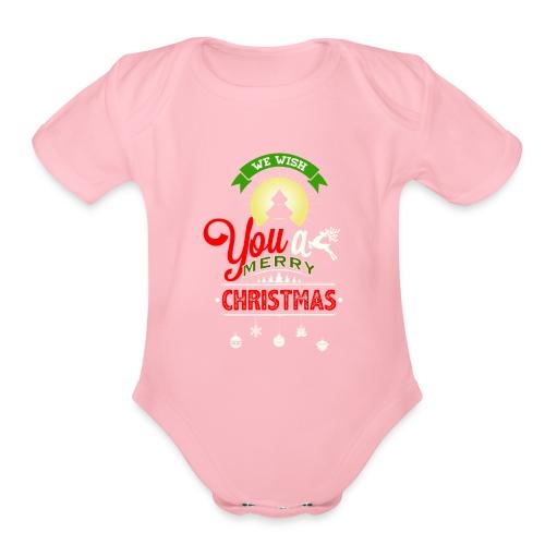 We Wish You A merry Christmas Reindeer - Organic Short Sleeve Baby Bodysuit