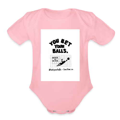 You Bet Your Balls on White - Organic Short Sleeve Baby Bodysuit