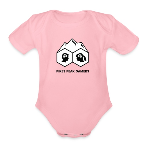 Pikes Peak Gamers Logo (Solid White) - Organic Short Sleeve Baby Bodysuit