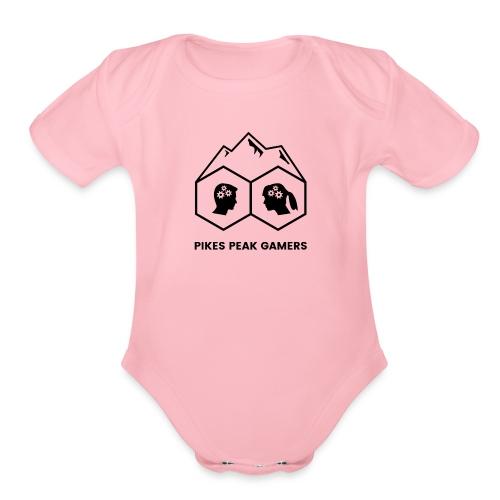 Pikes Peak Gamers Logo (Transparent Black) - Organic Short Sleeve Baby Bodysuit
