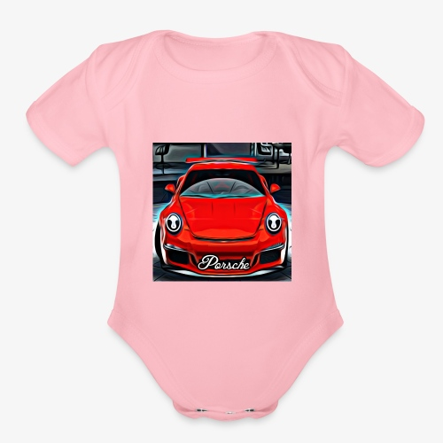 Red Car Painting - Organic Short Sleeve Baby Bodysuit